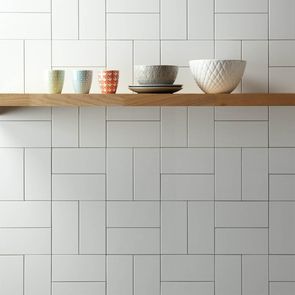 Metro Flat Wall Tiles - Gloss White - 20 x 10cm  Profile Large Image