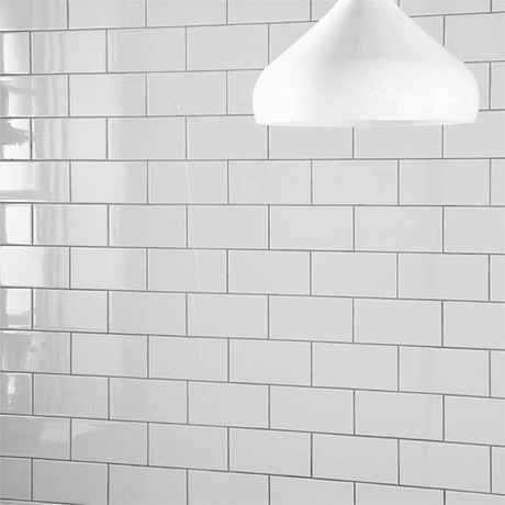 Metro Flat Wall Tiles - Gloss White - 20 x 10cm