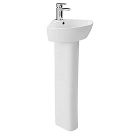 Britton MyHome 1TH Corner Basin with Full Pedestal