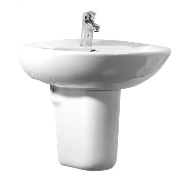 Tavistock Micra 565mm Ceramic Basin & Semi-Pedestal profile large image view 1