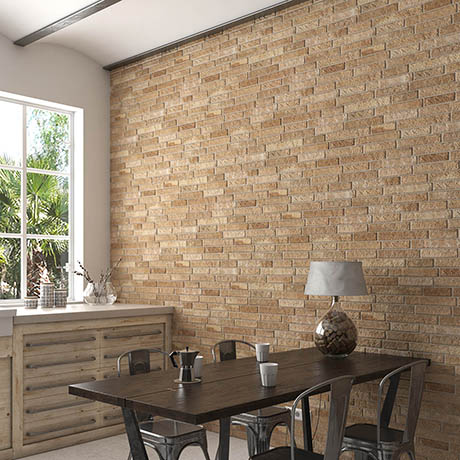 Michigan Ocre Rustic Brick Effect Tiles - 170 x 520mm