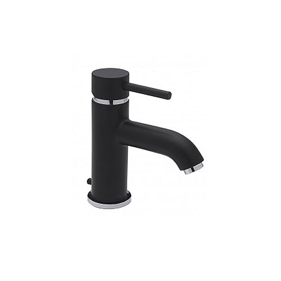 Tre Mercati Milan Black Mono Basin Mixer Tap with Pop-Up Waste - 63370 Large Image