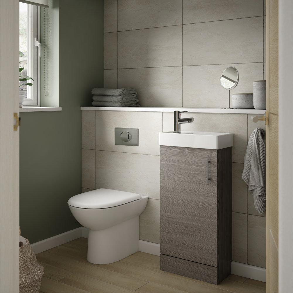 Milan Grey Avola Cloakroom Suite Toilet Concealed Cistern Vanity Unit Victorian Plumbing Uk