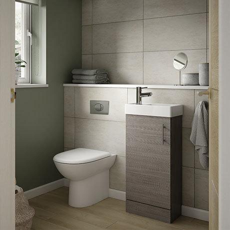 Milan Grey Avola Cloakroom Suite (Toilet, Concealed Cistern + Vanity Unit)
