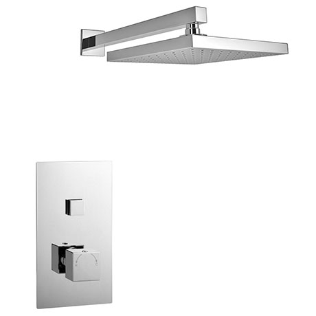 Milan Square Concealed Push-Button Valve + Rainfall Shower Head