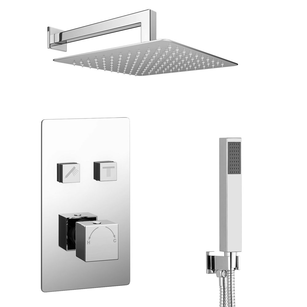 Milan Square Push-Button Shower Valve Pack with Handset + Rainfall Shower Head