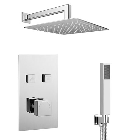 Milan Square Push-Button Shower Valve Pack with 2 Outlets (Handset + Rainfall Shower Head)