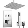 Milan Square Push-Button Ceiling Mounted Shower Pack (with Handset + Rainfall Shower Head) profile small image view 1