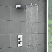Milan Square Shower Package with Concealed Valve + Flat Fixed Shower Head Medium Image