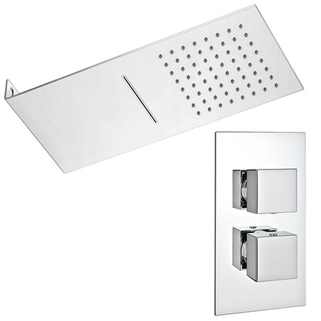 Milan Shower Package with Valve + Flat Dual Fixed Shower Head (Waterfall / Rainfall)