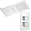 Milan Shower Package with Valve + Flat Dual Fixed Shower Head (Waterfall / Rainfall) profile small image view 1