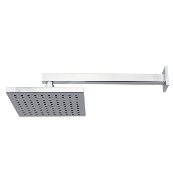 Milan 200 x 200mm Fixed Square Shower Head + Wall Mounted Arm profile large image view 2