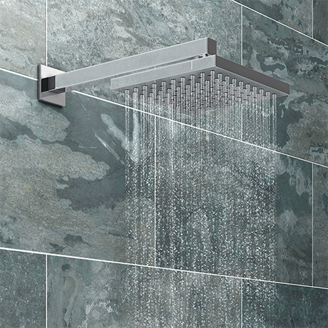 Milan 200 x 200mm Fixed Square Shower Head + Wall Mounted Arm