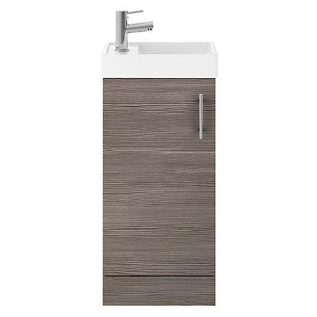 Milan W400 x D222mm Grey Avola Effect Compact Floor Standing Basin Unit