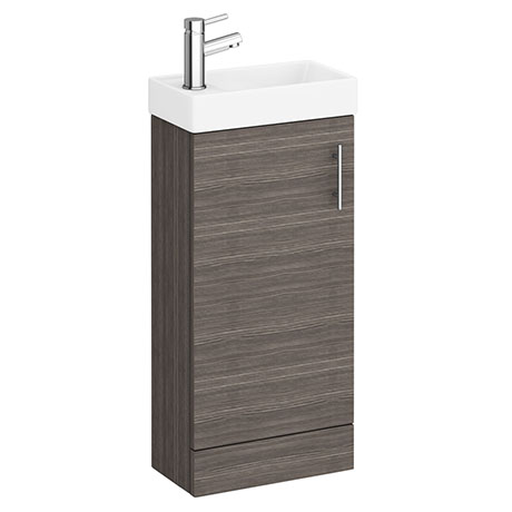 Milan W400 x D222mm Grey Avola Effect Compact Floor Standing Basin Unit