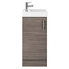 Milan W400 x D222mm Grey Avola Effect Compact Floor Standing Basin Unit profile small image view 1
