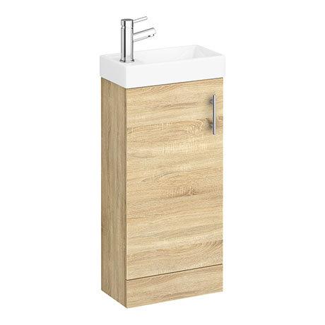 Milan W400 x D222mm Natural Oak Effect Compact Floor Standing Basin Unit