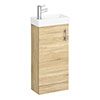 Milan W400 x D222mm Natural Oak Effect Compact Floor Standing Basin Unit profile small image view 1