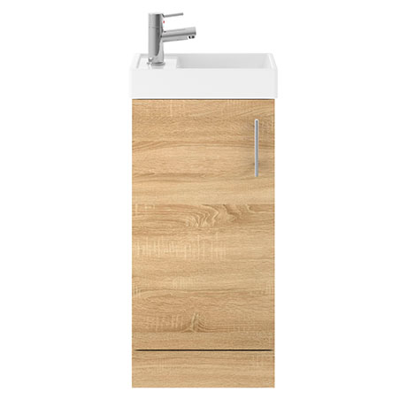 Milan W400 x D222mm Natural Oak Effect Compact Floor Standing Basin Unit