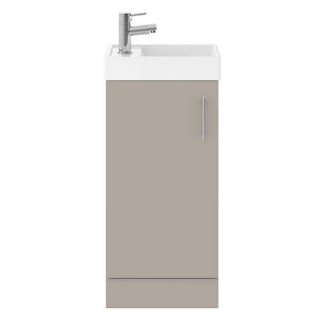 Milan W400 x D222mm Stone Grey Compact Floor Standing Basin Unit