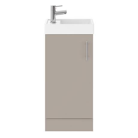 Milan W400 x D222mm Stone Grey Compact Floor Standing Basin Unit