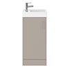 Milan W400 x D222mm Stone Grey Compact Floor Standing Basin Unit profile small image view 1