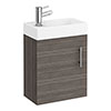 Milan W400 x D222mm Grey Avola Effect Compact Wall Hung Basin Unit profile small image view 1