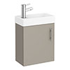 Milan W400 x D222mm Stone Grey Compact Wall Hung Basin Unit profile small image view 1
