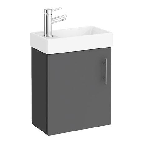 Milan W400 x D222mm Gloss Grey Compact Wall Hung Basin Unit