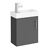 Milan W400 x D222mm Gloss Grey Compact Wall Hung Basin Unit profile small image view 1