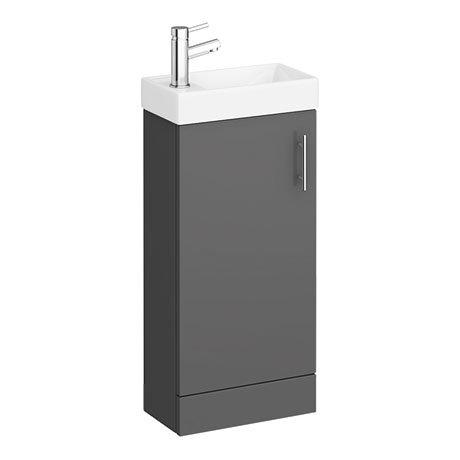 Milan W400 x D222mm Gloss Grey Compact Floor Standing Basin Unit