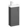 Milan W400 x D222mm Gloss Grey Compact Floor Standing Basin Unit profile small image view 1