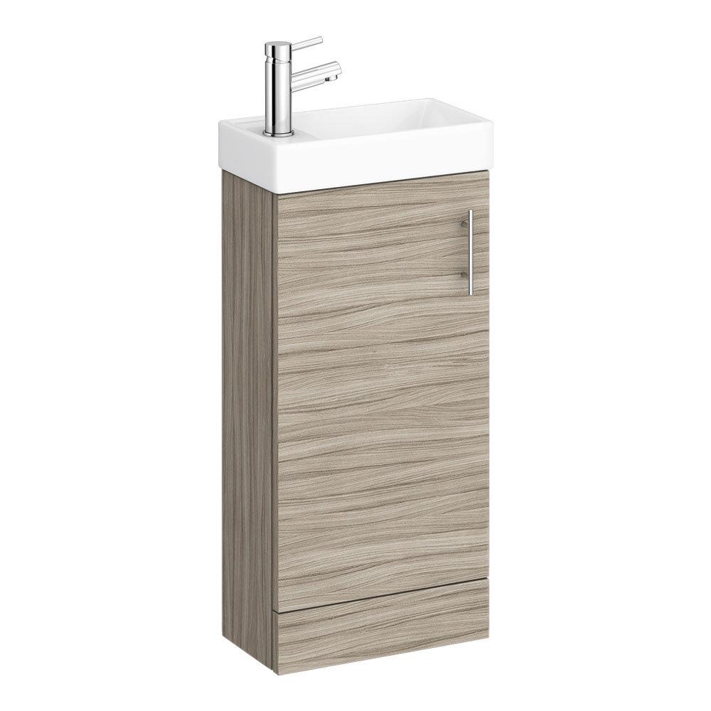 Milan W400 x D222mm Driftwood Effect Compact Floor Standing Basin Unit