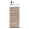 Milan W400 x D222mm Driftwood Effect Compact Floor Standing Basin Unit profile small image view 1