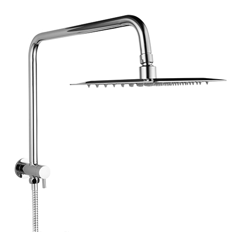 Milan 200 x 200mm Square Shower Kit with Fixed Head, Integrated Diverter + Hose