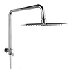 Milan 200 x 200mm Square Shower Kit with Fixed Head, Integrated Diverter + Hose profile small image view 1