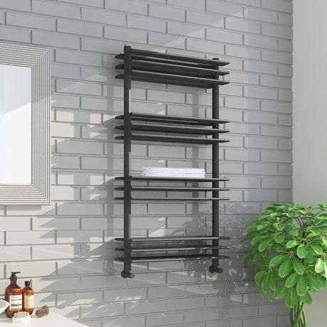 Milan Anthracite 1100 x 600mm Designer Shelf Heated Towel Rail