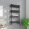 Milan Anthracite 1100 x 600mm Designer Shelf Heated Towel Rail profile small image view 1
