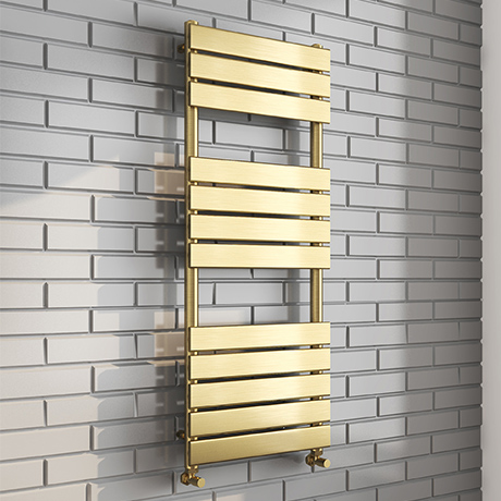 Milan Brushed Brass 1200 x 500 Heated Towel Rail