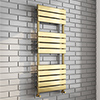 Milan Brushed Brass 1200 x 500 Heated Towel Rail profile small image view 1