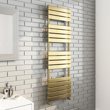 Milan Brushed Brass 1600 x 500 Heated Towel Rail