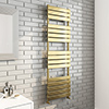 Milan Brushed Brass 1600 x 500 Heated Towel Rail profile small image view 1