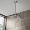 Milan Ultra Thin Square Shower Head with Vertical Arm - 200x200mm profile small image view 1