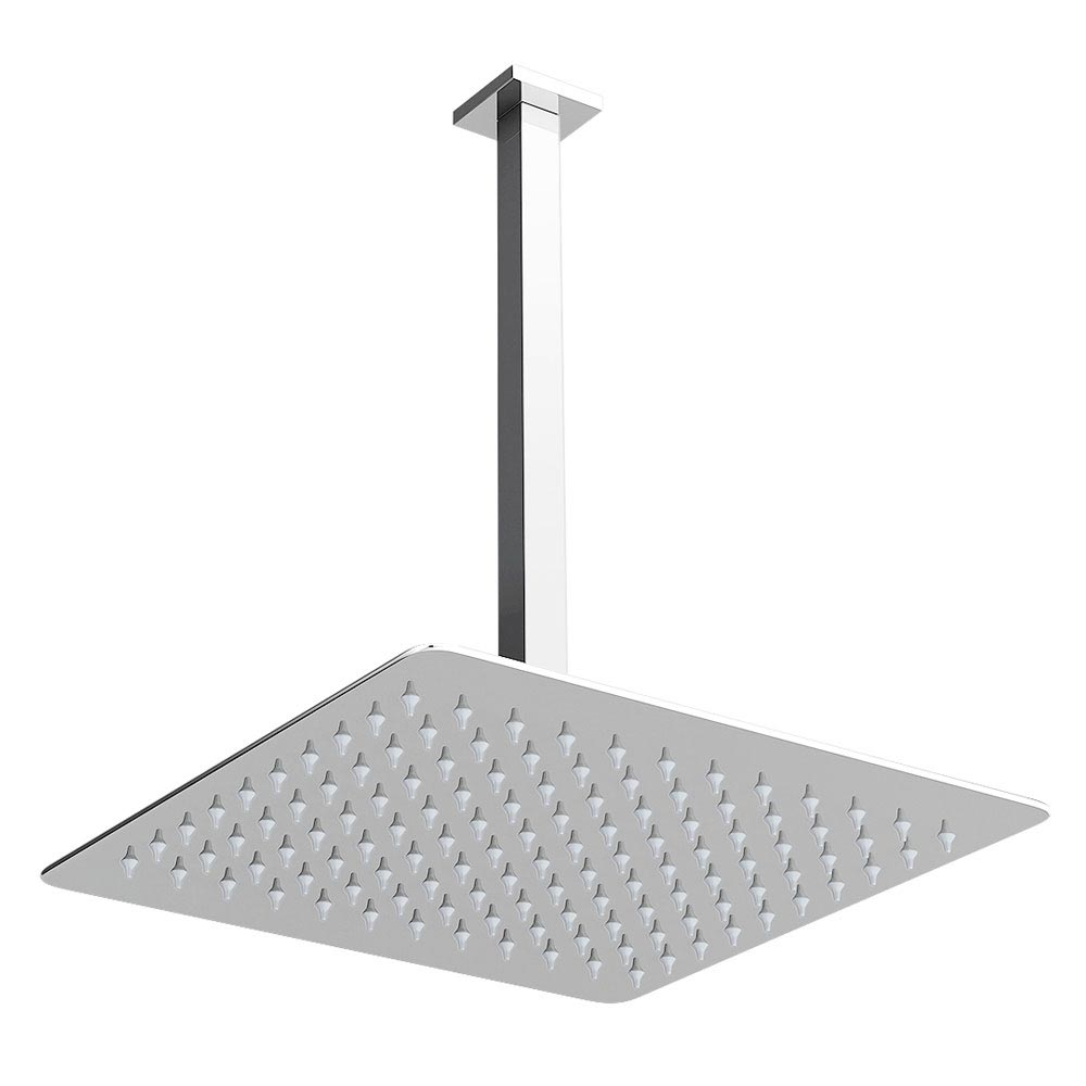 Modern Square Triple Valve with Diverter, Ceiling Mounted Square Shower Head & 6 Body Jets profile large image view 5