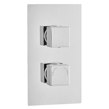 Milan Square Thermostatic 3-Way Concealed Shower Valve with Diverter - Chrome