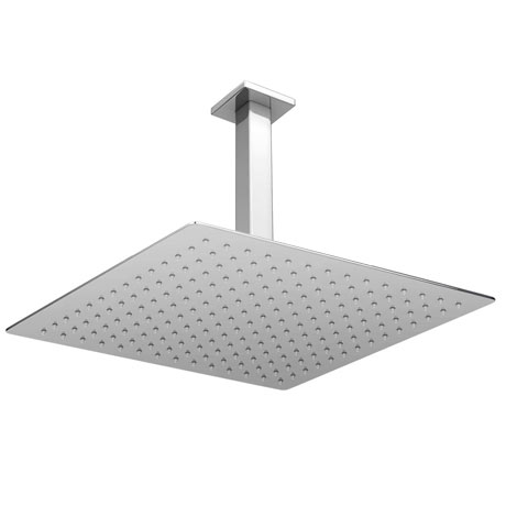 Milan Large 400mm Thin Square Shower Head + Ceiling Mounted Arm