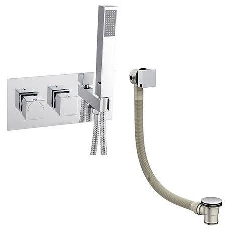 Milan Modern Square Concealed Thermostatic 2-Way Shower Valve with Handset + Freeflow Bath Filler