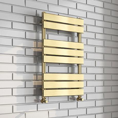 Milan Brushed Brass 800 x 500 Heated Towel Rail