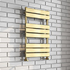 Milan Brushed Brass 800 x 500 Heated Towel Rail profile small image view 1
