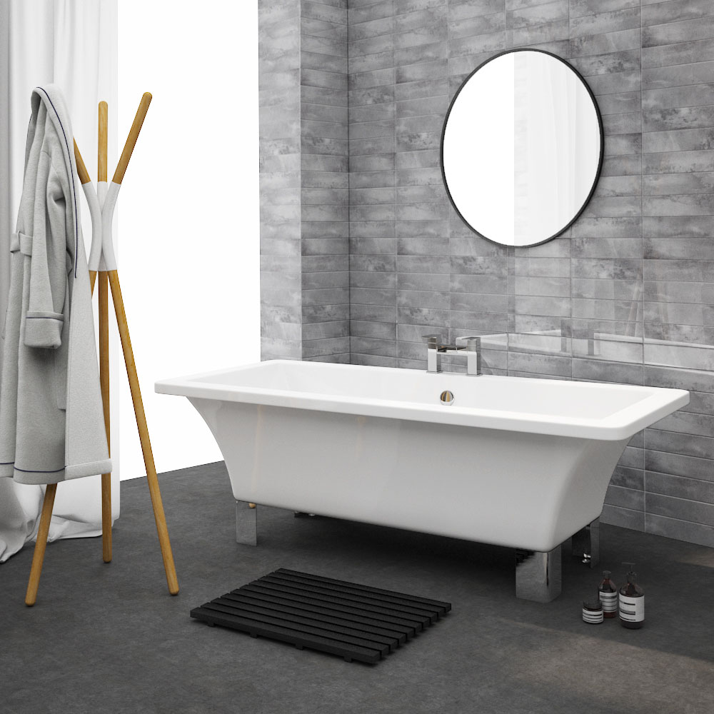 Milan 1520 Square Modern Roll Top Bath with Legs